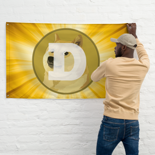Dogecoin Flag -being placed on wall